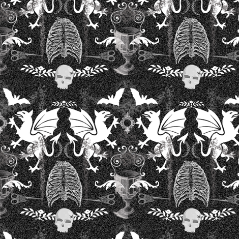ghoulish damask fabric by ajr51594 on Spoonflower - custom fabric