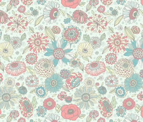 Colourful Floral  fabric by teja_jamilla on Spoonflower - custom fabric