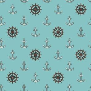 Anchors & Ships Wheels Bright Blue