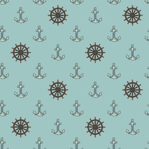 Anchors and Wheels Vintage Blue