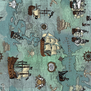 Pirate Ships Map Blue Big Repeat Sideways