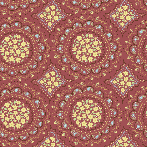 floral_circles_rust fabric by stacyiesthsu on Spoonflower - custom fabric