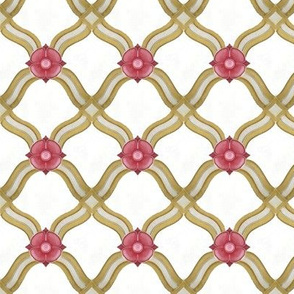Pink Flowers on a Ribbon Grid