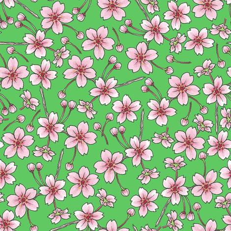 Sakura - Green fabric by siya on Spoonflower - custom fabric
