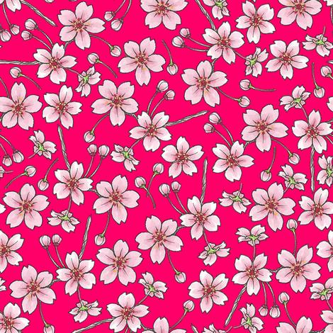 Sakura - Red fabric by siya on Spoonflower - custom fabric