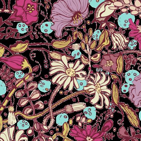 Garden O' Plenty- Purple Red Colorway fabric by gsonge on Spoonflower - custom fabric