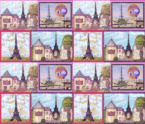 3 Paris Inspired Cityscapes And The Eiffel Tower By Kristie Hubler fabric by fabricatedframes on Spoonflower - custom fabric