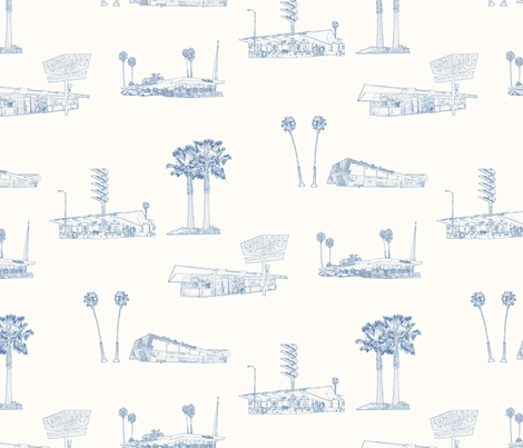googie coffee shops of greater Los Angeles toile fabric by anne-m-bray on Spoonflower - custom fabric