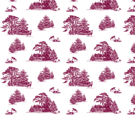 Evergreen toile with animals in wine fabric by lucybaribeau on Spoonflower - custom fabric