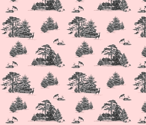 Evergreen toile with animals in pink and grey fabric by lucybaribeau on Spoonflower - custom fabric