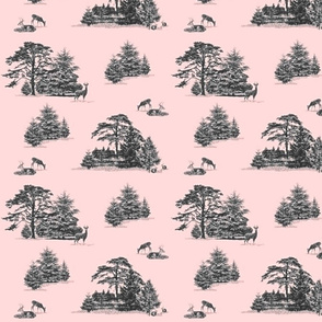 Evergreen toile with animals in pink and grey