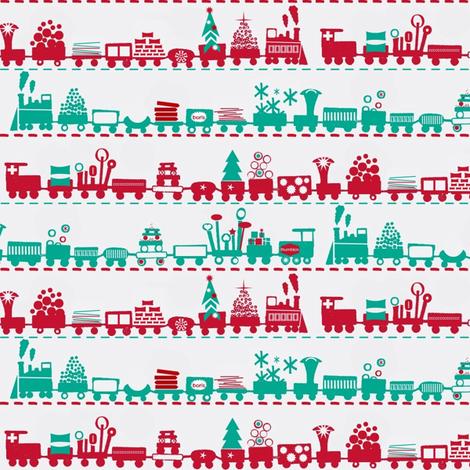 Christmas Trains fabric by boris_thumbkin on Spoonflower - custom fabric