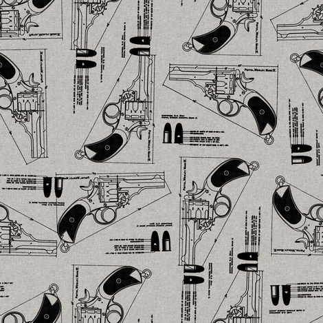 gun_on_burlap3 fabric by susiprint on Spoonflower - custom fabric