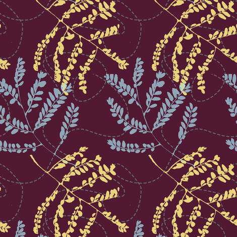 Foliage in Flight- dark fabric by gsonge on Spoonflower - custom fabric