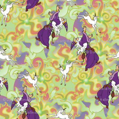 Wizard chasing a Unicorn
