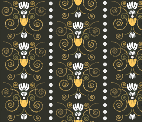 Multi-Damask - Baroque Dark fabric by owlandchickadee on Spoonflower - custom fabric