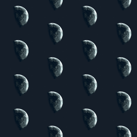 Alien Moon in Black © Gingezel 2012 fabric by gingezel on Spoonflower - custom fabric