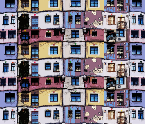 windows of the Hundertwasser's house in Vienna fabric by katarina on Spoonflower - custom fabric