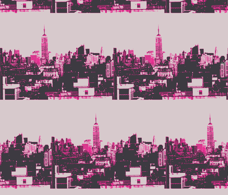 nyc_skyline_hotpink_2 fabric by sclues on Spoonflower - custom fabric