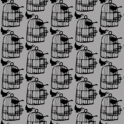 bird cage in grey fabric by katarina on Spoonflower - custom fabric