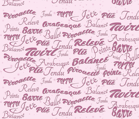 Ballet_words fabric by dancingwithfabric on Spoonflower - custom fabric