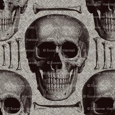 skullsandbones on printed burlap texture