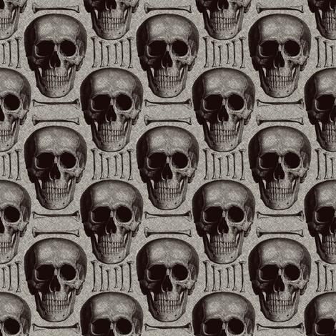 skullsandbones on printed burlap texture fabric by susiprint on Spoonflower - custom fabric