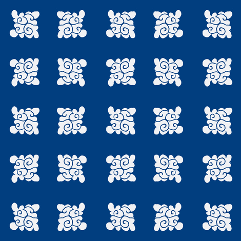 cloud design white on dark blue fabric by bad_penny on Spoonflower - custom fabric