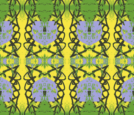 Modern Art Deco flowers in four colors fabric by susaninparis on Spoonflower - custom fabric