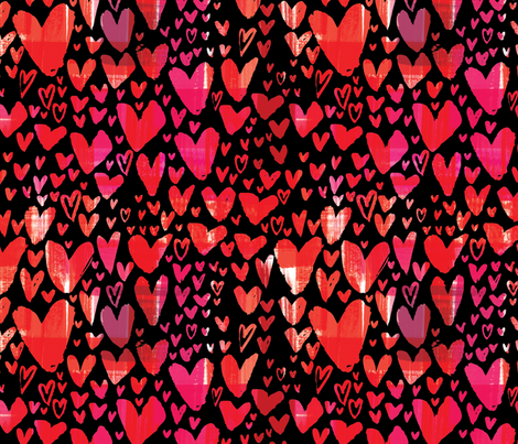Painted Hearts in Black fabric by cynthiafrenette on Spoonflower - custom fabric