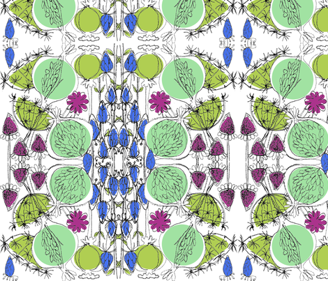 Catching Wishes green/blue fabric by mollymacliving on Spoonflower - custom fabric