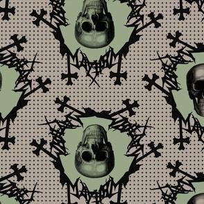 skulls on dots green and dark beige