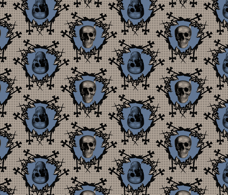 skulls on dots blue fabric by susiprint on Spoonflower - custom fabric