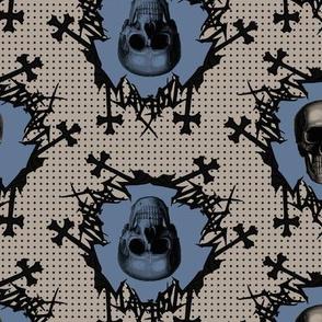 skulls on dots blue
