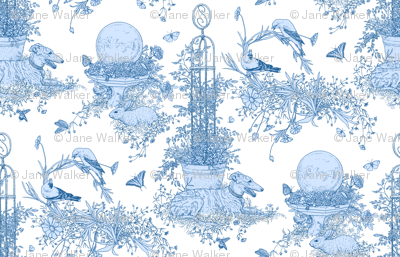 My Garden Toile Main Large - White and Blue   ©2011 by Jane Walker