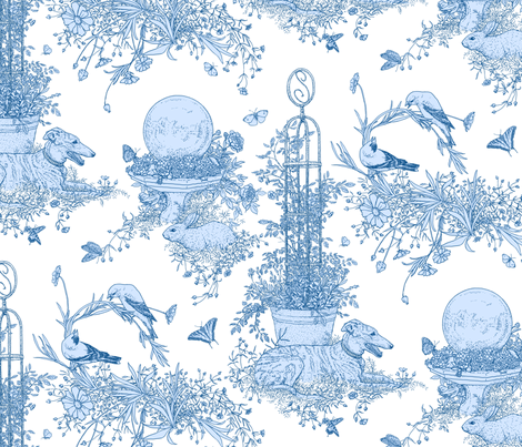 My Garden Toile Main Large - White and Blue   ©2011 by Jane Walker fabric by artbyjanewalker on Spoonflower - custom fabric