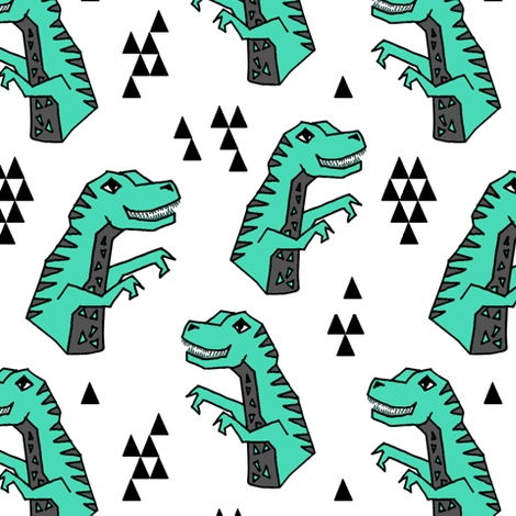 dinosaur // dinos dinosaurs kids trex t-rex dinos triangles kids baby fabric by andrea_lauren on Spoonflower - custom fabric