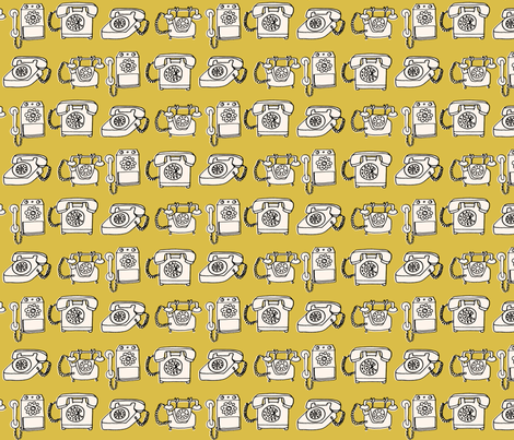 rotary telephone // vintage mustard yellow phone rotary hand-drawn illustration fabric by andrea_lauren on Spoonflower - custom fabric