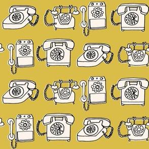rotary telephone // vintage mustard yellow phone rotary hand-drawn illustration