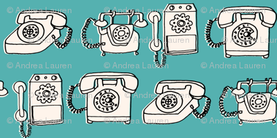 rotary phone // illustration blue turquoise hand drawn vintagae