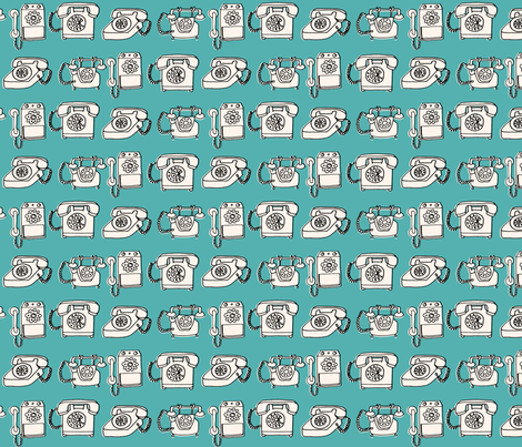 rotary phone // illustration blue turquoise hand drawn vintagae fabric by andrea_lauren on Spoonflower - custom fabric