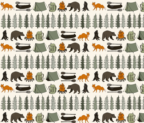 camping // cream bear fox woodland forest trees outdoors illustration fabric by andrea_lauren on Spoonflower - custom fabric