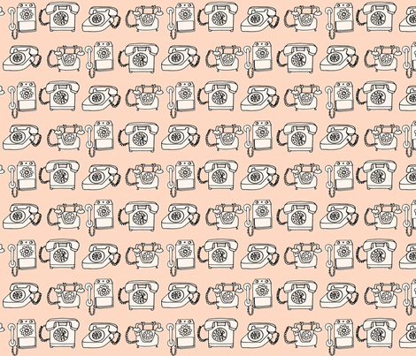 rotary telephone // light peach blush champagne vintage rotary phone fabric by andrea_lauren on Spoonflower - custom fabric