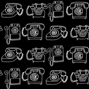 Rotary Telephone // black and white hand-drawn vintage phone