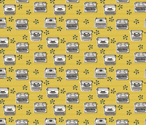 Typewriter // mustard champagne hand-drawn vintage house homewares 50s fabric by andrea_lauren on Spoonflower - custom fabric