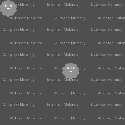 Teeny Monster Polka Dots - Grey
