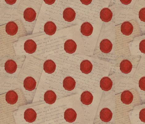 Wax_Seals_and_Pen_Letters fabric by moobug on Spoonflower - custom fabric