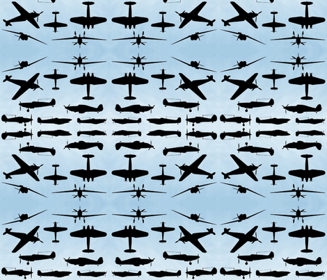 WW2 silhouettes fabric by podaiboo on Spoonflower - custom fabric