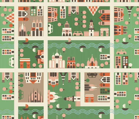 cartoon map fabric by anastasiia-ku on Spoonflower - custom fabric