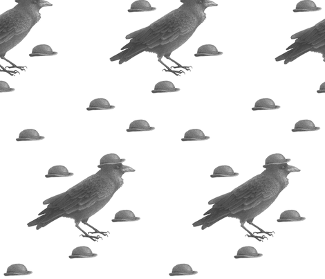 Bowler Hat Crow  fabric by golders on Spoonflower - custom fabric